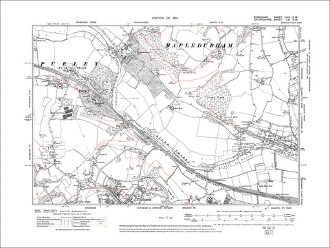 Purley, Tilehurst (N), old map Berkshire 1914: 29SW