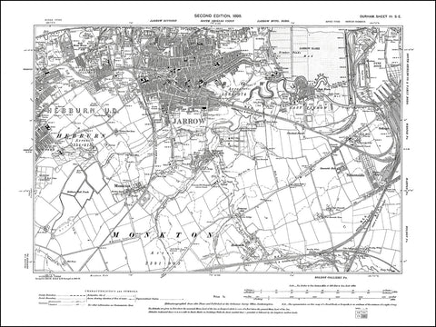 DURHAM 03SE : Old map of Jarrow, Hebburn east in 1898