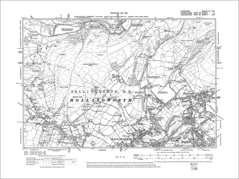 Tintwistle, Hadfield (N), Hollingworth (N), old map Cheshire 1911: 3SE