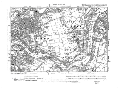 DURHAM 03SW : Old map of Gateshead northeast, South Shields west in 1898