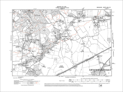 Littlewick Green, Knowl Hill, old map Berkshire 1913: 30NE
