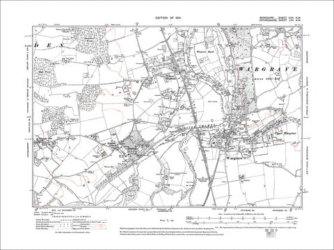 Wargrave, old map Berkshire 1914: 30NW
