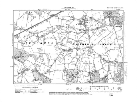 Waltham St Lawrence, Shurlock Row, old map Berkshire 1914: 30SE