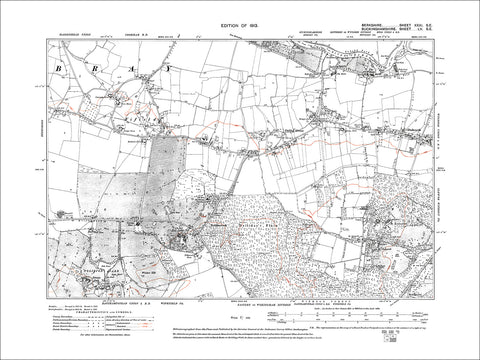 Fifield, Oakley Green, Dedworth, old map Berkshire 1913: 31SE