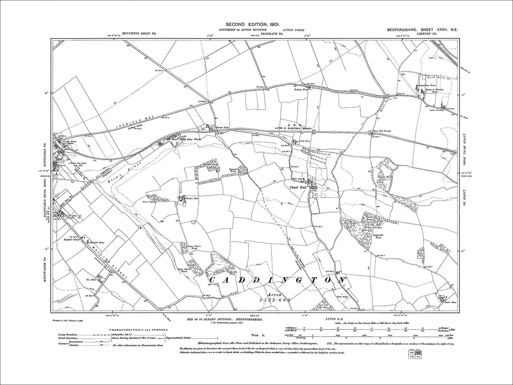 Dunstable E Blows Down old map Bedfordshire 1901 32NE Old