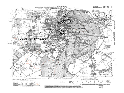 Windsor, Old Windsor, Clewer, old map Berkshire 1914: 32SW