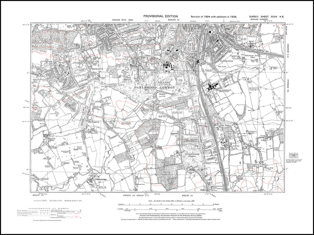 Redhill (south), Earlswood, Wood Hatch, Mead   Vale, White Bushes, Surrey in 1938 : 34-NE