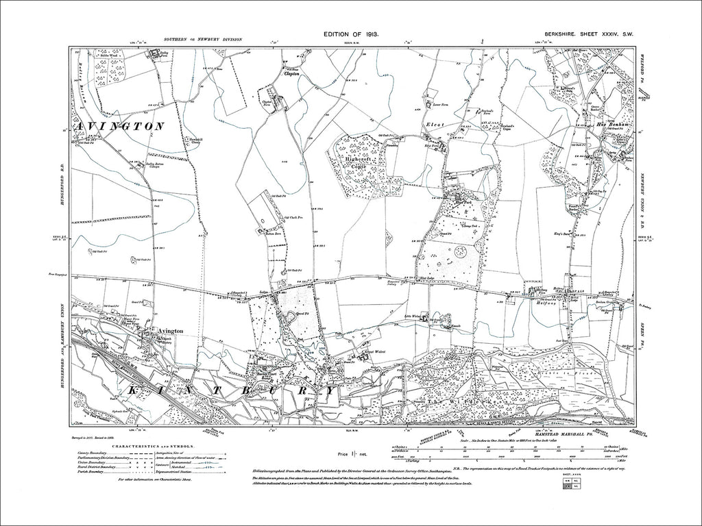 Avington, old map Berkshire 1913: 34SW