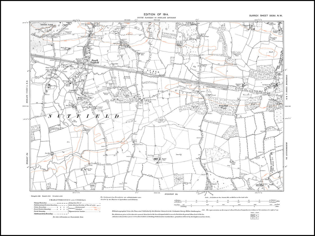 South Nutfield, Ridge Green, Surrey in 1914 : 35-NW