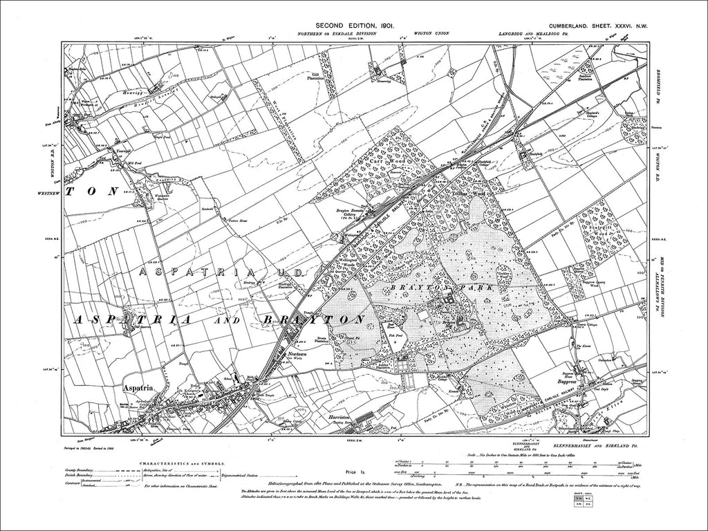 Aspatria, Harriston, Baggrow, Old Map Cumberland 1901: 36NW