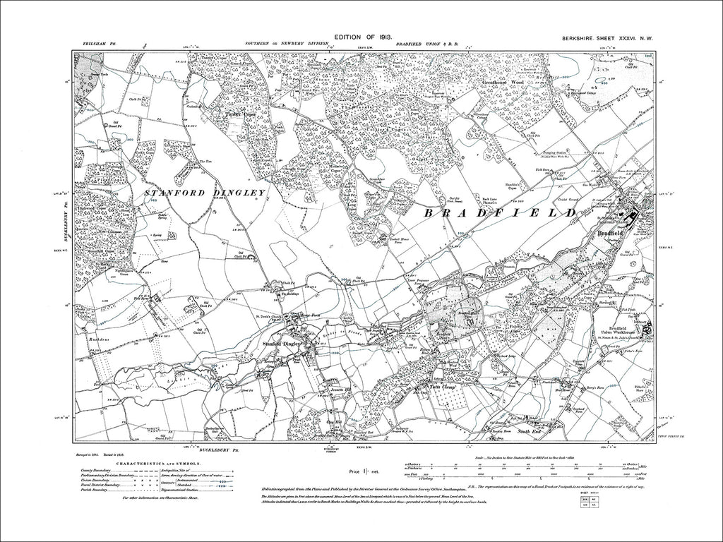 Bradfield, Stanford Dingley, Tutts Clump, old map Berkshire 1913: 36NW