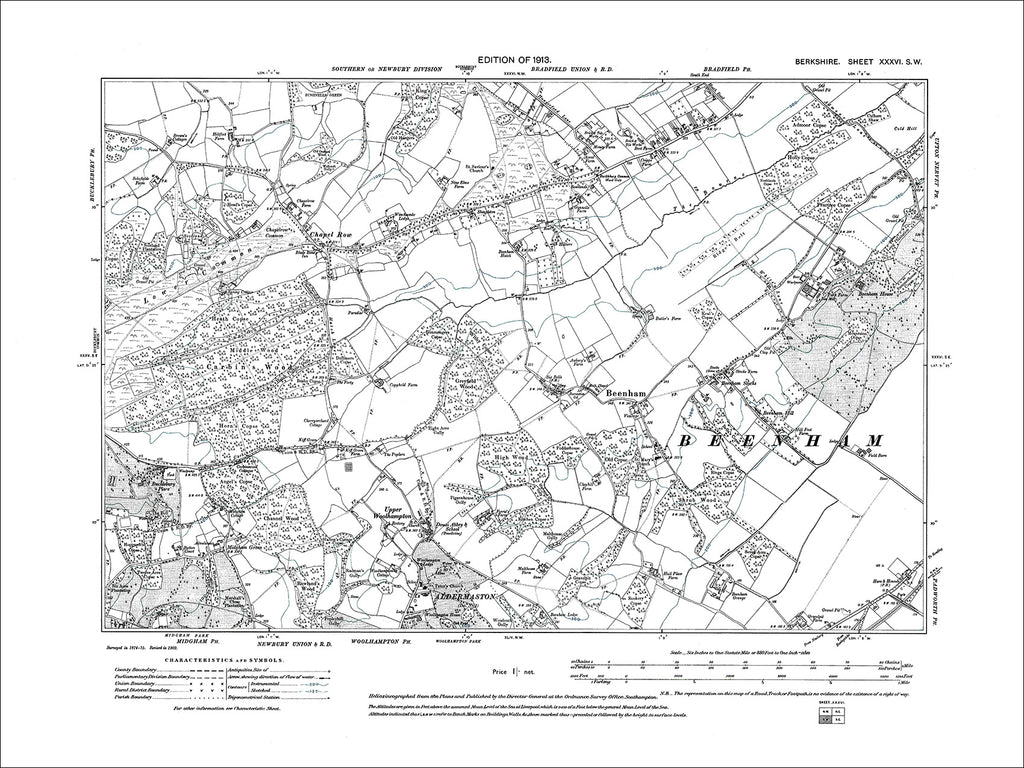 Bradfield (S), Beenham, Chapel Row, old map Berkshire 1913: 36SW