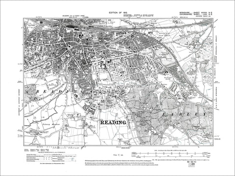 Reading (S), old map Berkshire 1913: 37NE