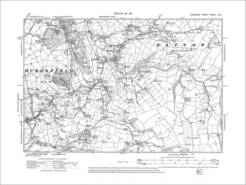 Macclesfield (NE), Bollington (S), Rainow, old map Cheshire 1911: 37NW