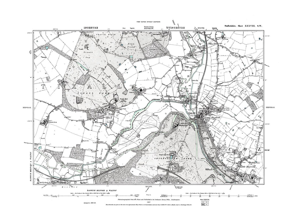 Great Haywood, Little Haywood and Tixall, Staffordshire in 1887 (38 SW)