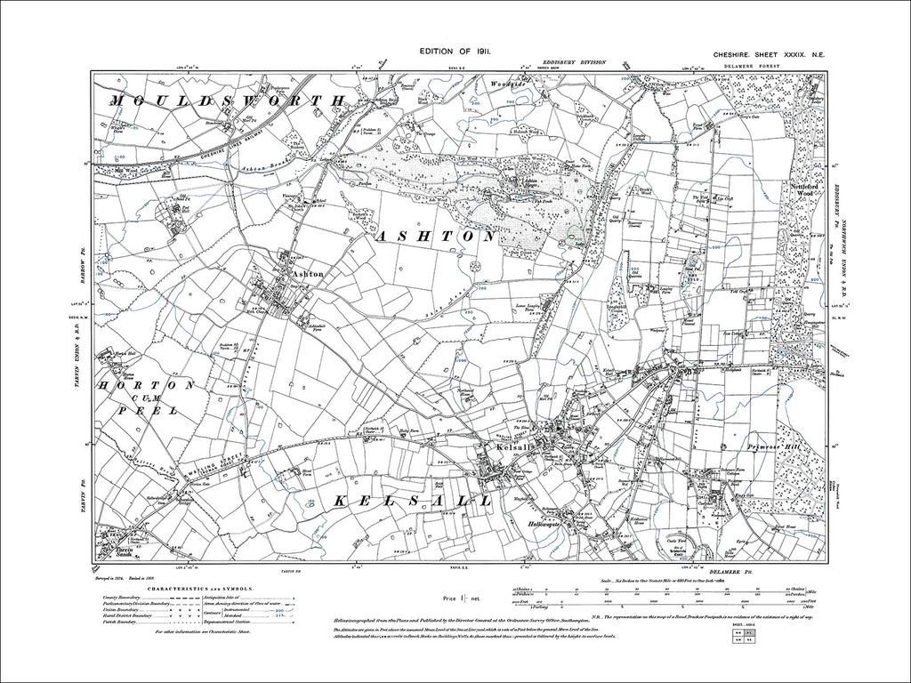 Ashton, Kelsall, old map Cheshire 1911: 39NE