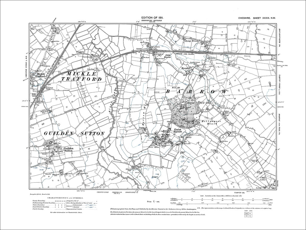 Barrow, Guilden Sutton, Mickle Trafford (E), old map Cheshire 1911: 39NW