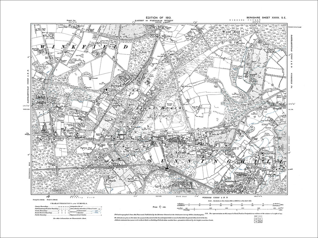 Ascot, Burleigh, Sunninghill (N), old map Berkshire 1913: 39SE
