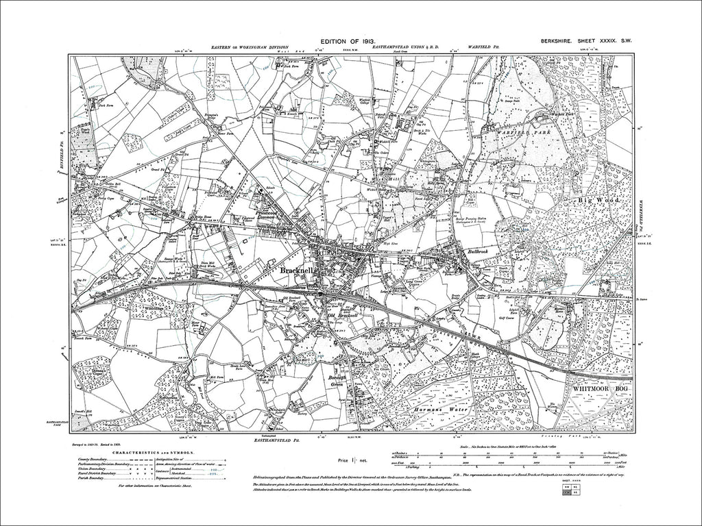 Bracknell, Bullbrook, Wick Hill, old map Berkshire 1913: 39SW