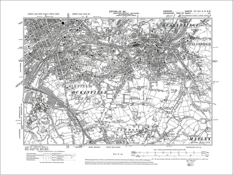 Stalybridge, Dukinfield, Newton (N), old map Cheshire 1911: 3aSE-3SW