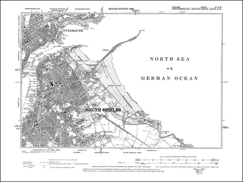 DURHAM 04NW : Old map of South Shields in 1898