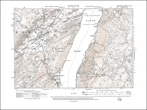 LANCASHIRE 04SE : old map of Torver, in 1919