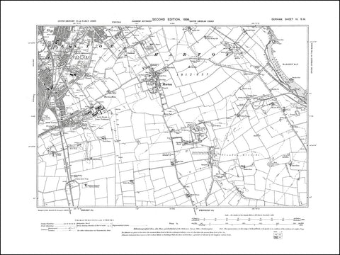 DURHAM 04SW : Old map of South Shields (southeast), Harton in 1898