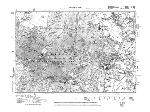 Windsor Great Park, old map Berkshire 1914: 40NW