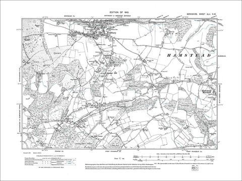 Kintbury (S), Hamstead Marshall (W), old map Berkshire 1913: 42NW