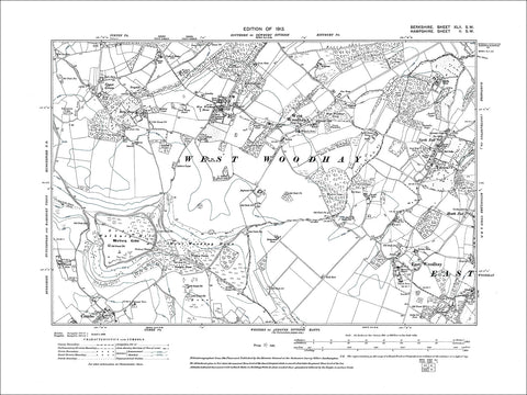 West Woodhay, Walbury Hill, old map Berkshire 1913: 42SW
