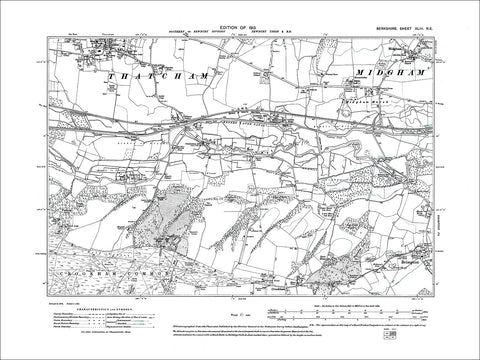 Thatcham (S), Midgham, old map Berkshire 1913: 43NE