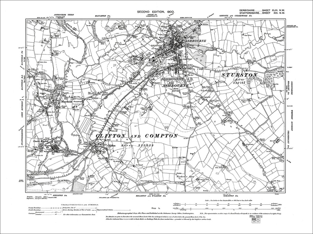 Ashbourne, Clifton, Mayfield, Old Map Derbyshire 1900: 43NW