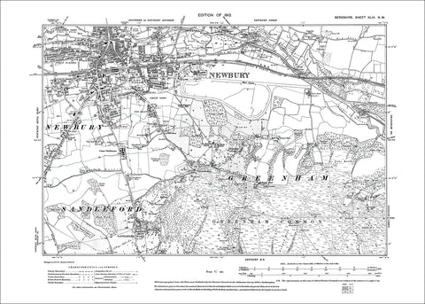 Newbury, Greenham, old map Berkshire 1913: 43NW