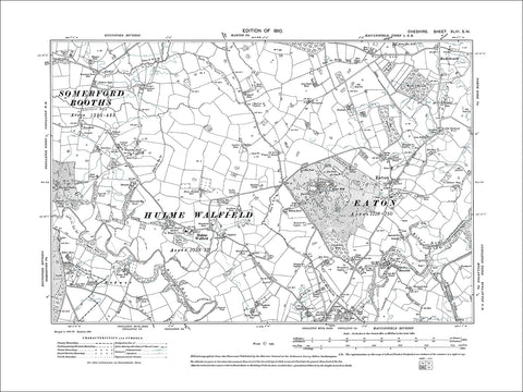 Eaton, Hulme Walfield, old map Cheshire 1910: 43SW