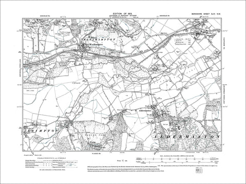 Woolhampton, Aldermarston & Wharf, old map Berkshire 1913: 44NW