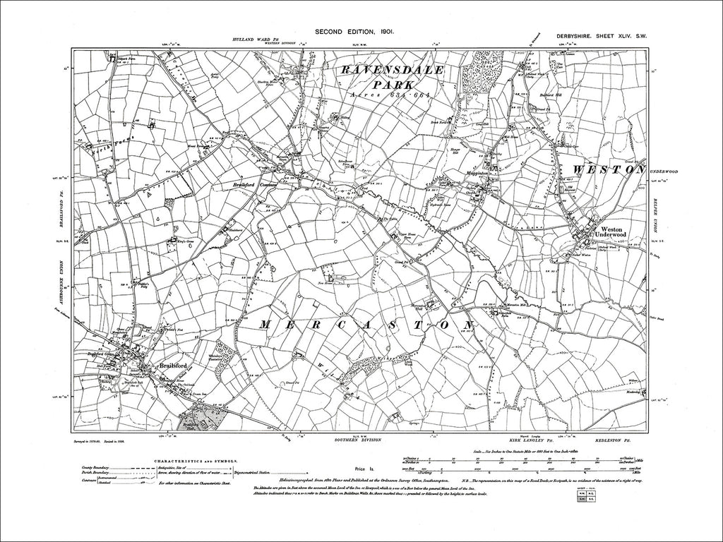 Brailsford, Weston Underwood, Old Map Derbyshire 1901: 44SW