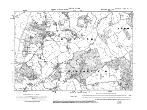 Spencers Wood, Swallowfield, old map Berkshire 1913: 45NE