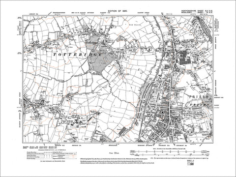 HERTFORDSHIRE 45SE : Old map of Totteridge in 1899