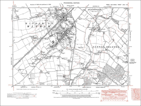 Old map of Witham, Little Braxted, Essex 1938
