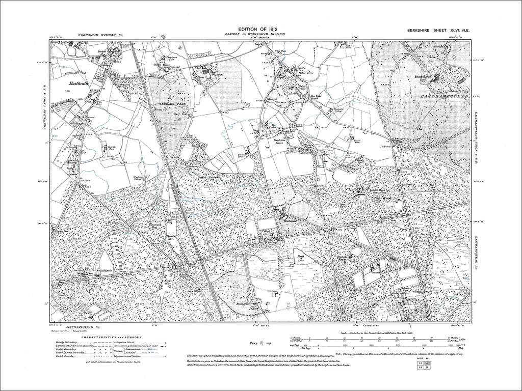 Crowthorne (N), Eastheath, Holme Green, old map Berkshire 1912: 46NE