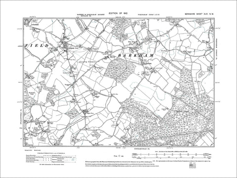 Barkham, Arborfield Cross, old map Berkshire 1912: 46NW