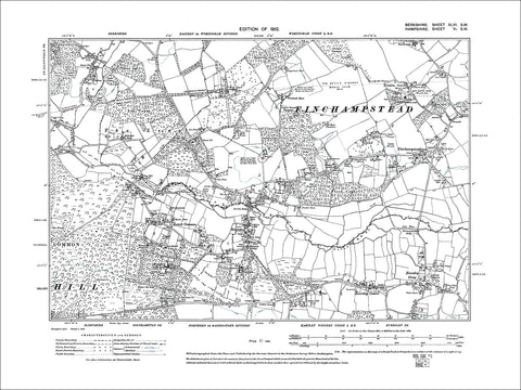 Finchampstead (+ Eversley, Hants), old map Berkshire 1912: 46SW