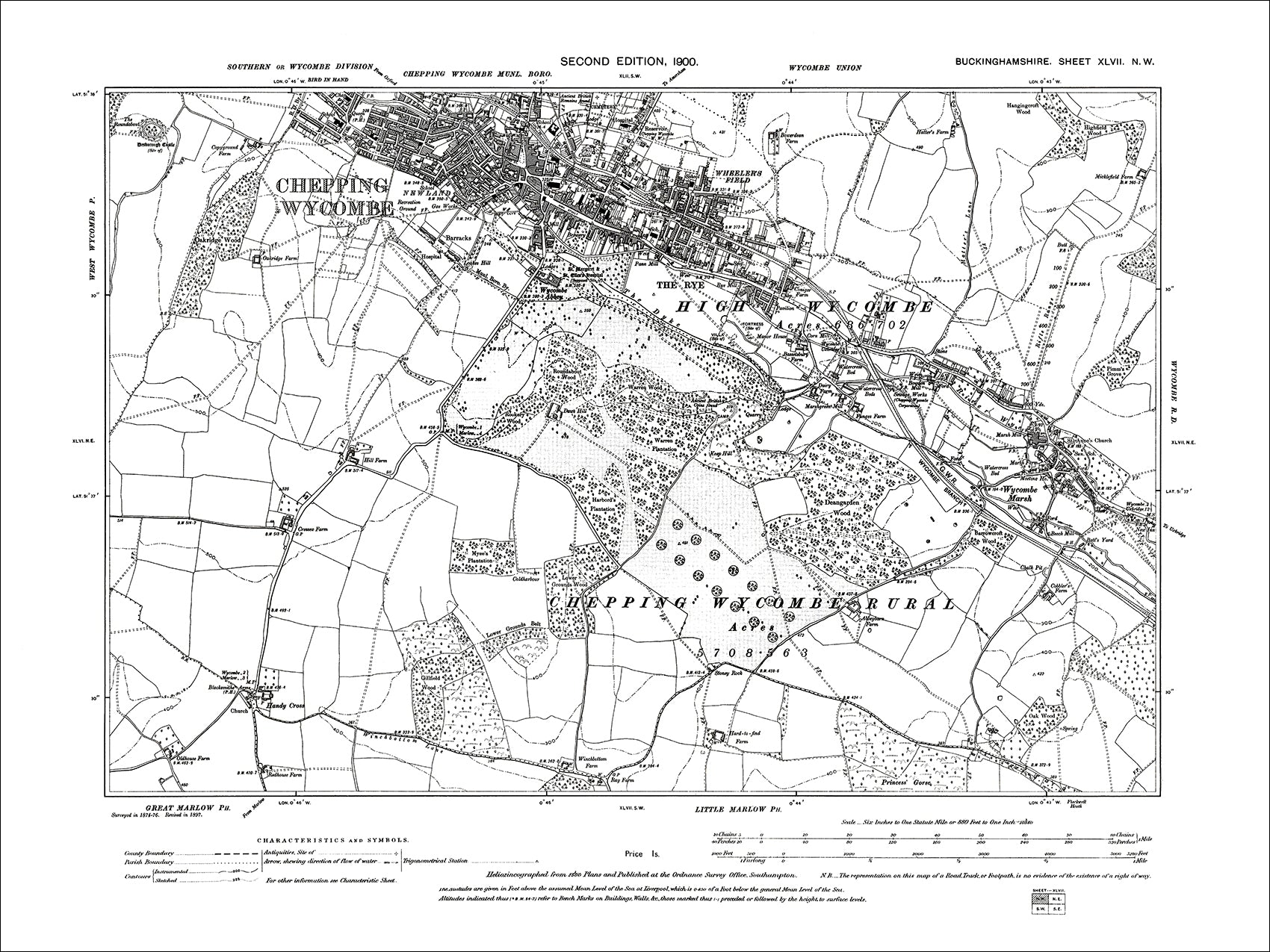 Map 1900.High Wycombe Old Map Bucks 1900 47nw