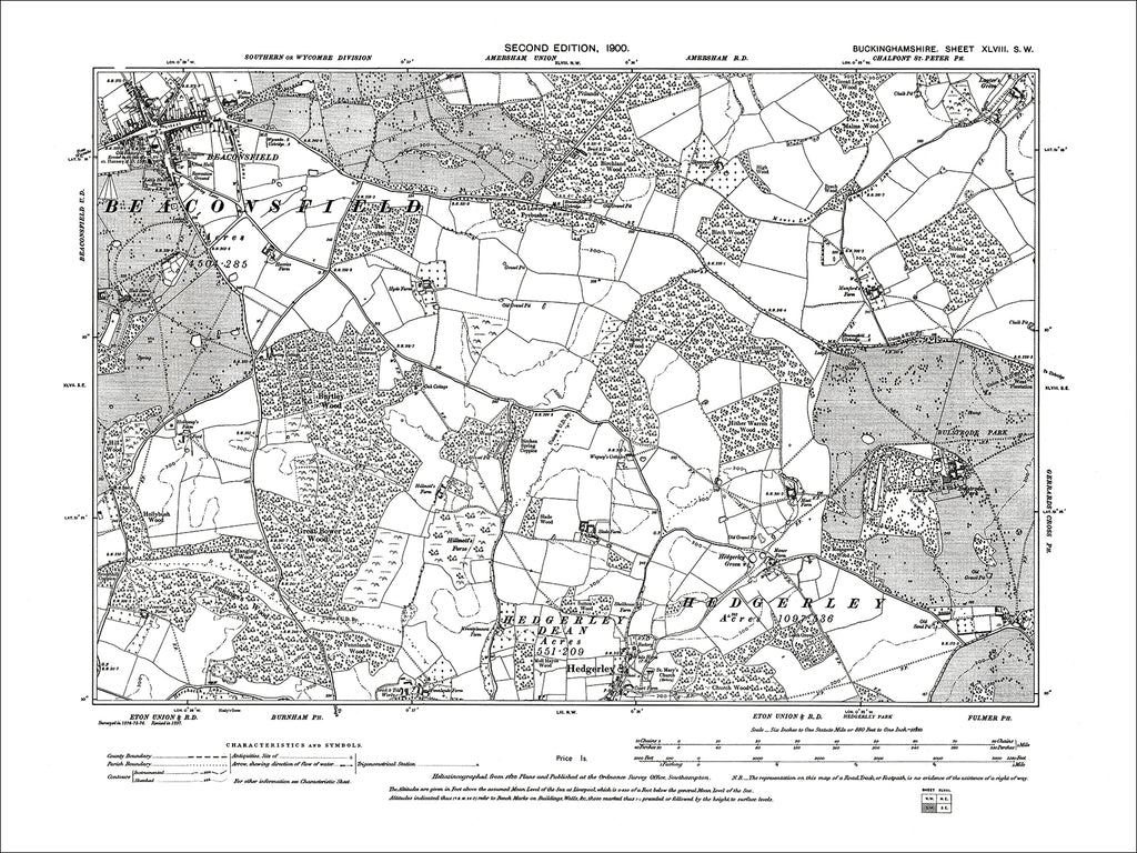 Beaconsfield, Hedgerley, old map Bucks 1900: 48SW