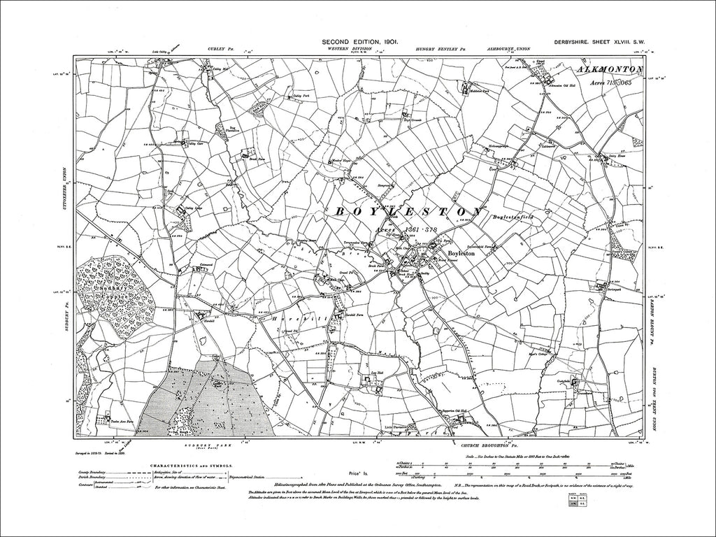 Boyleston, Old Map Derbyshire 1901: 48SW
