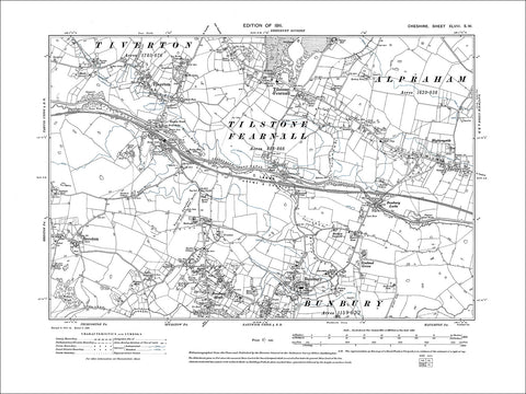Bunbury, Tilstone Fearnall, Tiverton, old map Cheshire 1911: 48SW