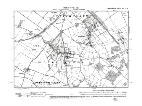 Dullingham, Stetchworth, old map Cambs 1903: 49NW