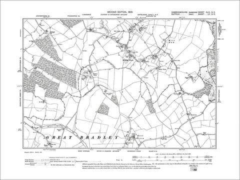 Kirtling (S), Kirtling Green, old map Cambs 1903: 49SE