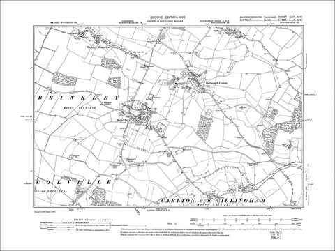 Brinkley, Burrough Green, Westley Waterless, old map Cambs 1903: 49SW