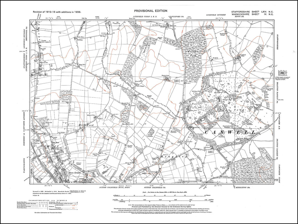Sutton Coldfield (N), Hill, Mere Green, Canwell Park in 1938 (4NE)